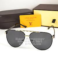 Мужские солнцезащитные очки Louis Vuitton Aviator черные с золотом металл оправа Авиатор луи витон реплика