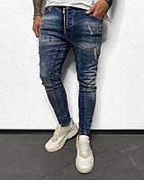 Мужские джинсы синие рваные зауженные коллекция 2020 Турецкие BLACK ISLAND ТОП качество