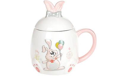 Кружка керамическая BonaDi 450мл с объемным рисунком Веселый кролик DM138-E