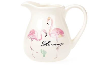 Кувшин керамический BonaDi 900мл Розовый Фламинго с золотой надписью DM516-FL
