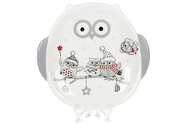 Тарелка керамическая BonaDi с объемным рисунком Совушки 19см DM525-X