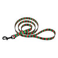 Поводок для Собак  Нейлоновый красно-зелёный рисунок Полоска