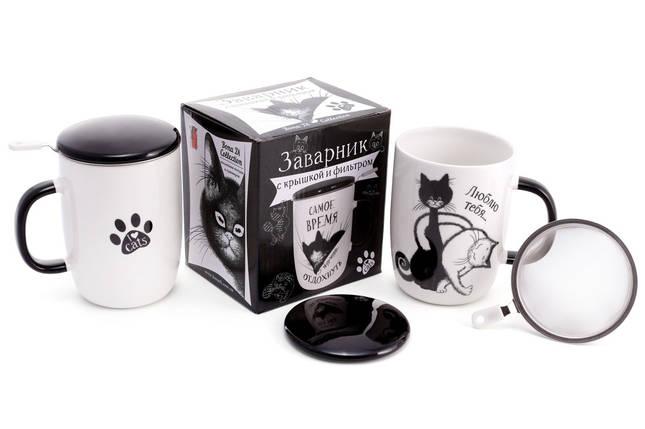 """Чашка заварочная 450мл """"Черный кот"""" с крышкой и метал. ситом в подарочной коробке, фото 2"""