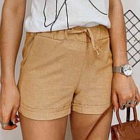 Женские однотонные шорты лён