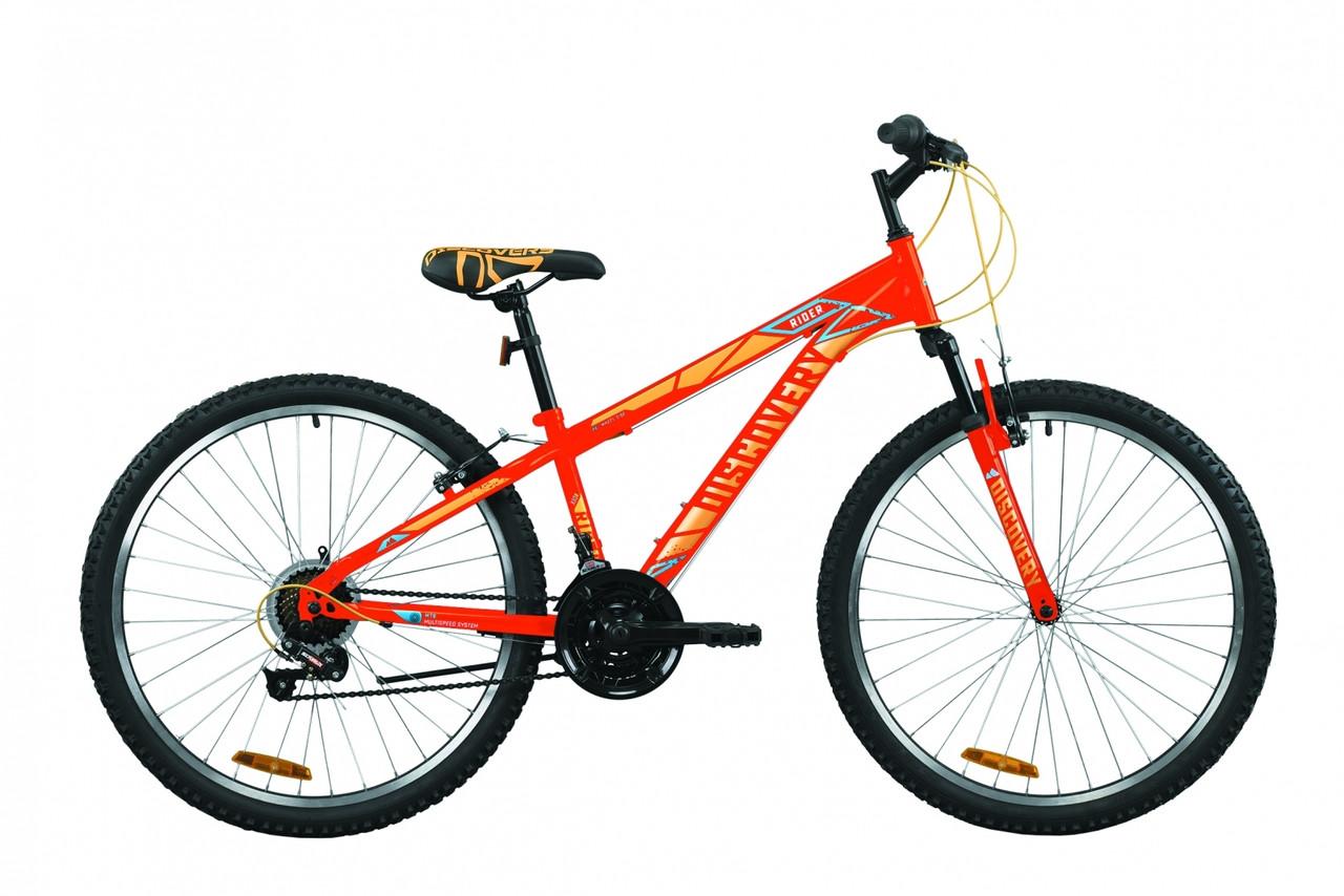 """Велосипед горный 26"""" Discovery Rider AM Vbr 2020 красно-оранжевый с синм, 18"""""""