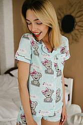 Пижама Женская Тедди хлопок комплект (рубашка с коротким рукавом и шорты)