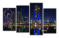 Часы картина модульные настенные в офис подарок шефу Сияние города в ночи 30x55 30x65 30x77 30x60 см