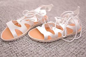 Женские сандалии гладиаторки силикон белые  40