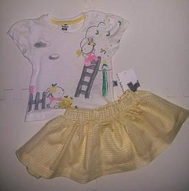 Красивый комплект для девочки на лето юбка-шорты футболка
