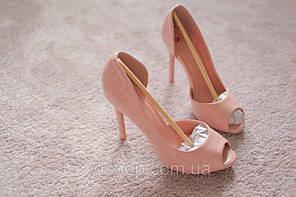 Женские туфли ассиметрия Италия шпилька розовые лак классика мода 39 размер
