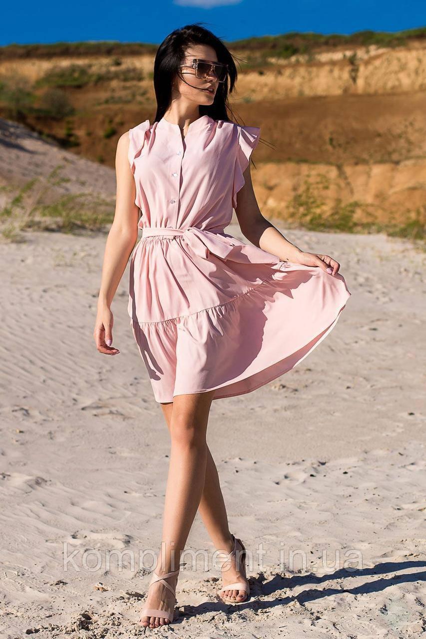"""Легке жіночне літнє плаття з витонченим поясом """"Яна"""", рожевий"""