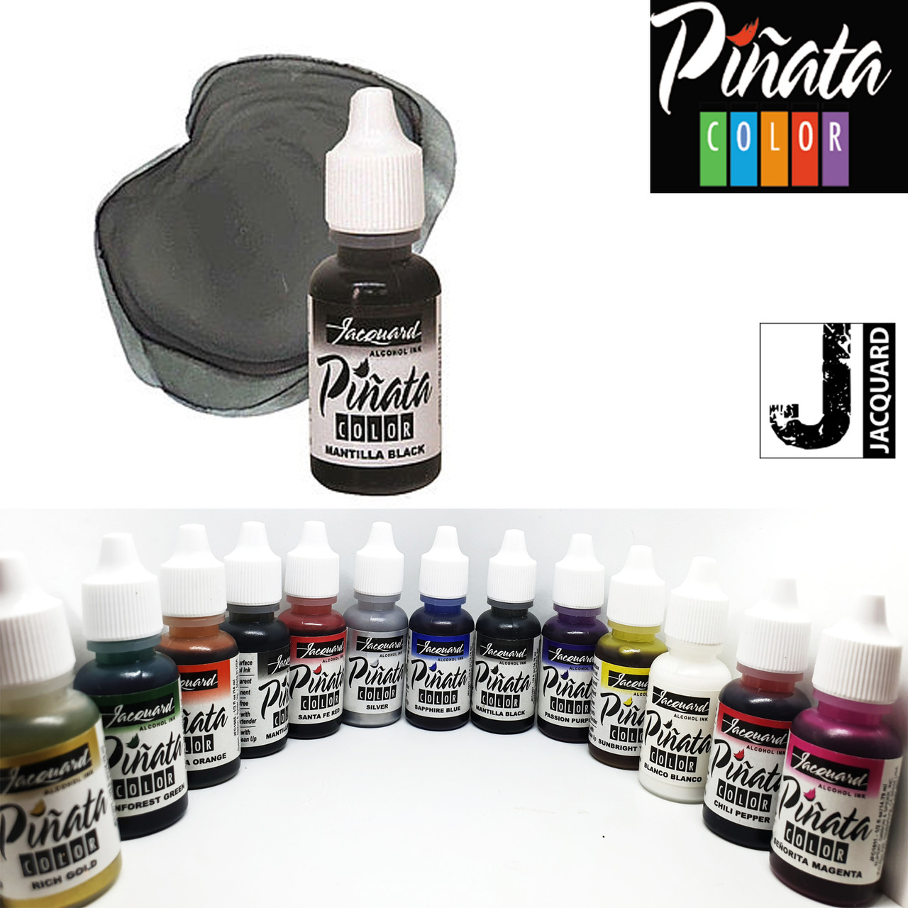 """Спиртовые чернила """"Jacquard Pinata"""" пр-во США, 15 мл,  мантильский черный 1031, Mantilla Black"""
