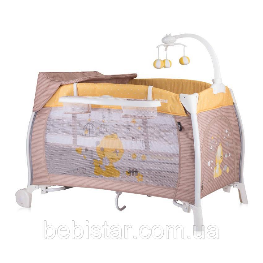 Манеж-кровать шоколад Lorelli I'Loung 2 укачивание москитная сетка колеса два уровня пеленатор сумка карусель