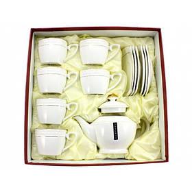 Сервиз чайный Interos 13 предметов (6 чашек кв. 240 мл с блюдцами, заварник 850 мл) PT0442-A