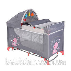 Кровать-манеж Lorelli Moonlight rocker Серо-розовый с рождения до 3 лет