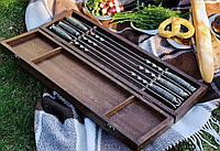 """Набор шампуров c мраморными ручками """"Imperial"""" в кейсе из бука. Оригинальный подарок охотнику и рыбаку"""