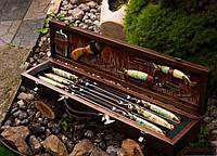 """Необычный подарок рыбаку - шампура """"Щучьи люкс"""" с рыбацким ножом, вилкой, топором и флягой, в кейсе из дерева"""