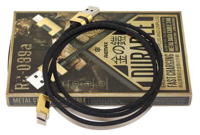 Кабель USB Type C, Remax 'Metal data', чорний, 1 метр, 3.0 A (RC-089a), фото 2