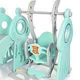 Детский пластиковый игровой комплекс 2 в 1 горка с кольцом + качель Bambi WM19011-5 серо-мятный для дома, фото 4