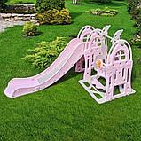 Детский пластиковый игровой комплекс 2 в 1 горка с кольцом + качель Bambi WM19017-8 серо-розовый для дома, фото 2