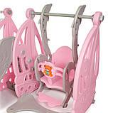 Детский пластиковый игровой комплекс 2 в 1 горка с кольцом + качель Bambi WM19016  серо-розовый для дома, фото 4