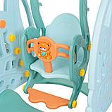 Детский пластиковый игровой комплекс 2 в 1 горка с кольцом + качель Bambi WM19016  голубой  для дома, фото 4