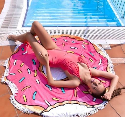 Пляжное круглое полотенце коврик с бахромой 150см микрофибра Пончик Donut