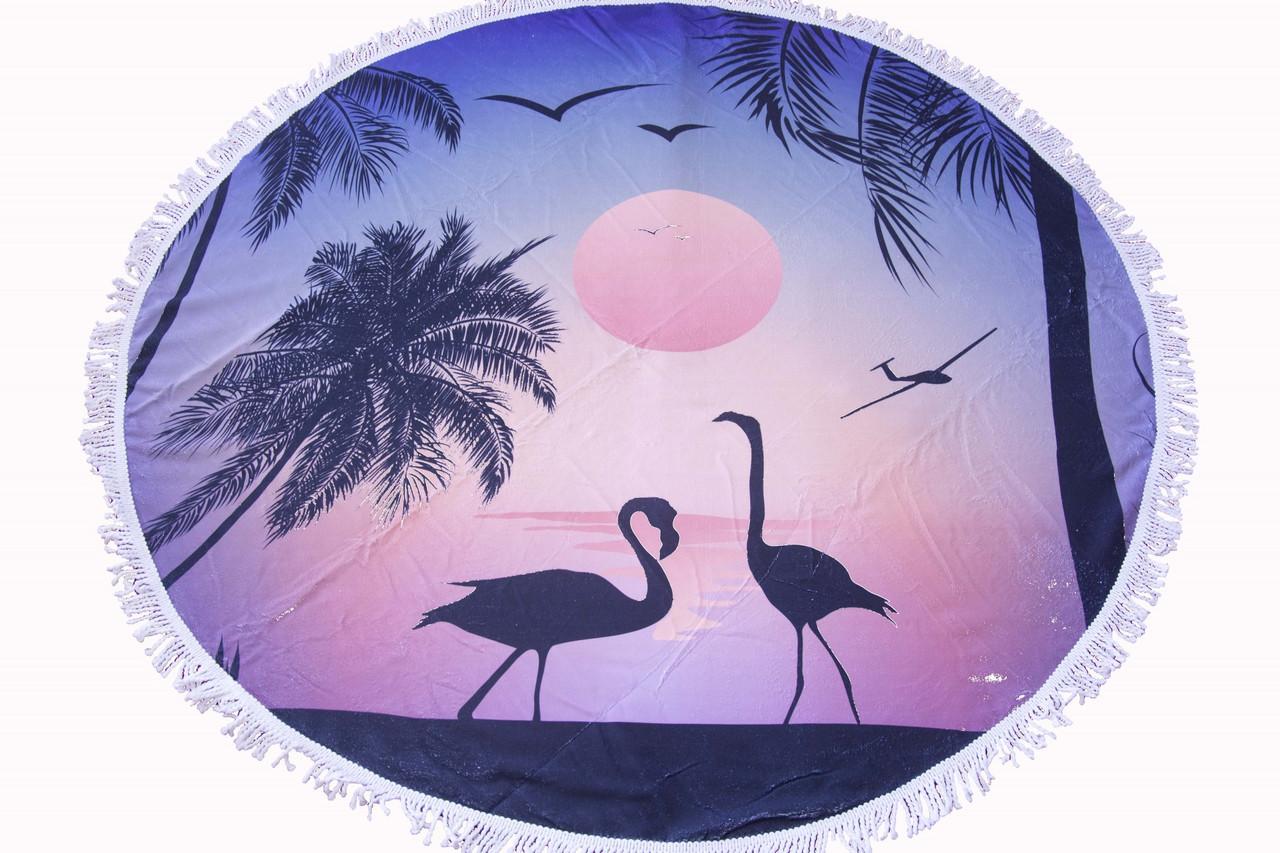 Пляжное круглое полотенце коврик с бахромой 150см микрофибра Фламинго Закат