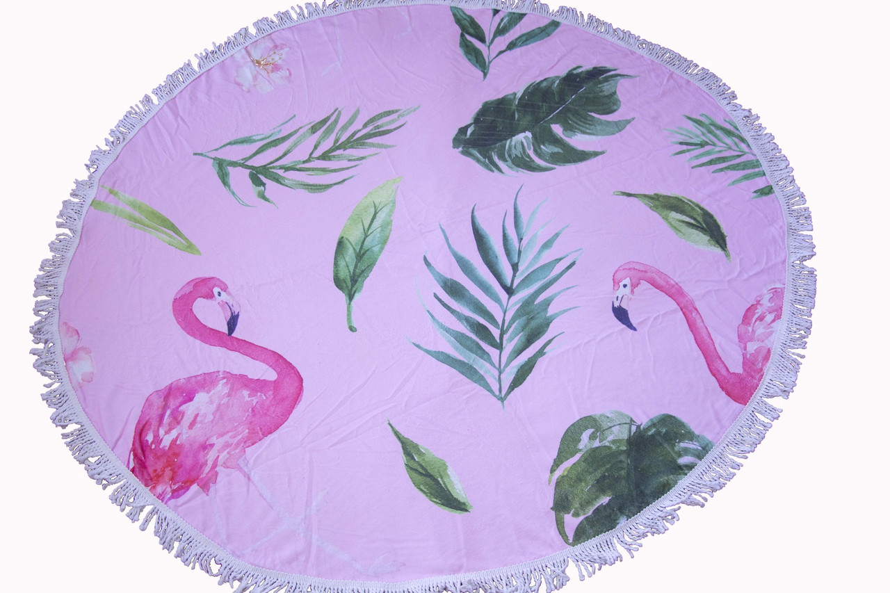 Пляжное круглое полотенце коврик с бахромой 150см микрофибра Фламинго Листья
