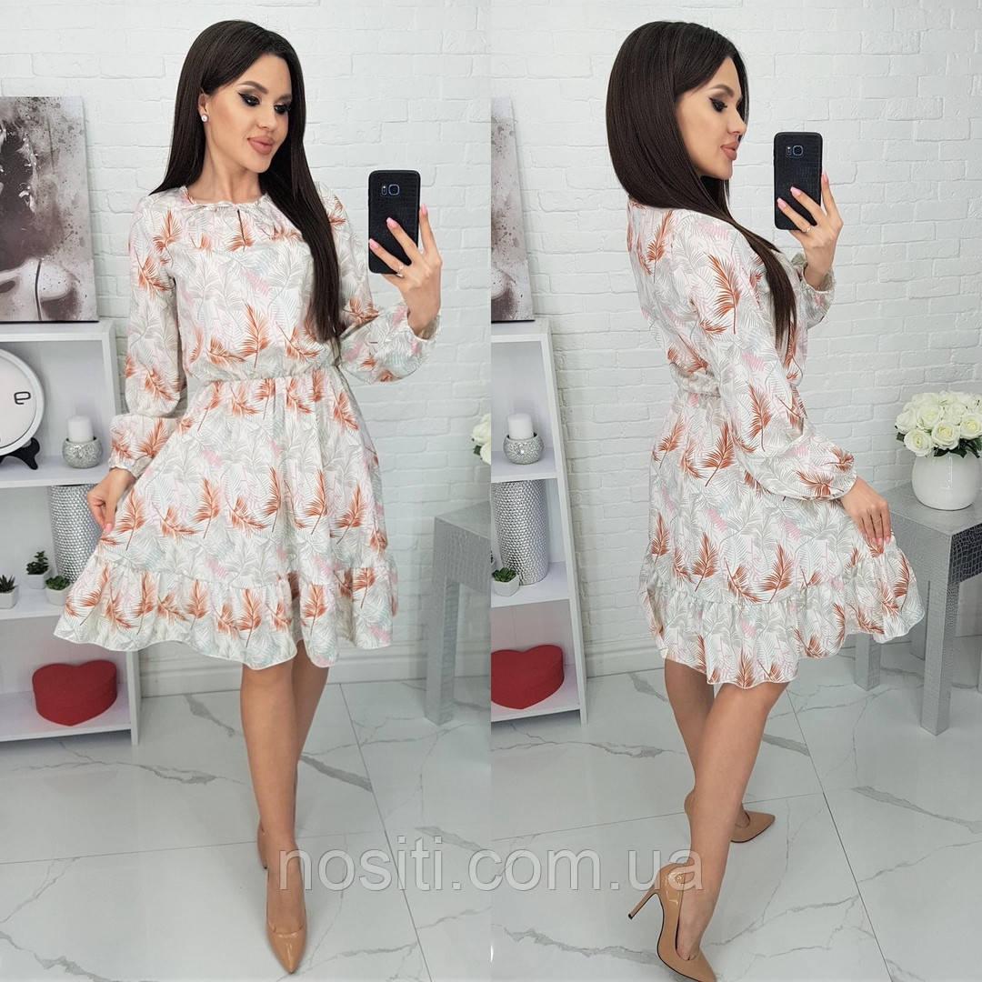 Женское платье в принт с рукавом три четверти