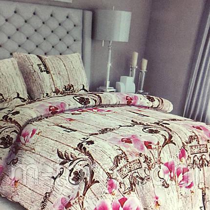 Комплект постельного белья евро размер 200/220 см,простынь 200/220 см,нав-ки 70/70,ткань сатин 100% хлопок, фото 2