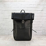 Рюкзак roll чёрный из натуральной кожи crazy horse, фото 10