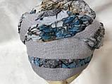 Летняя бандана-шапка-косынка хлопковая с объёмной драпировкой с серым кантом, фото 2