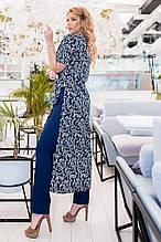 Жіночий стильний брючний костюм з довжиною тунікою 50-56р.