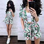 Костюм женский с тропическим принтом: накидка-жакет с поясом и шорты (в расцветках), фото 4
