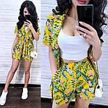 Костюм женский с тропическим принтом: накидка-жакет с поясом и шорты (в расцветках), фото 5