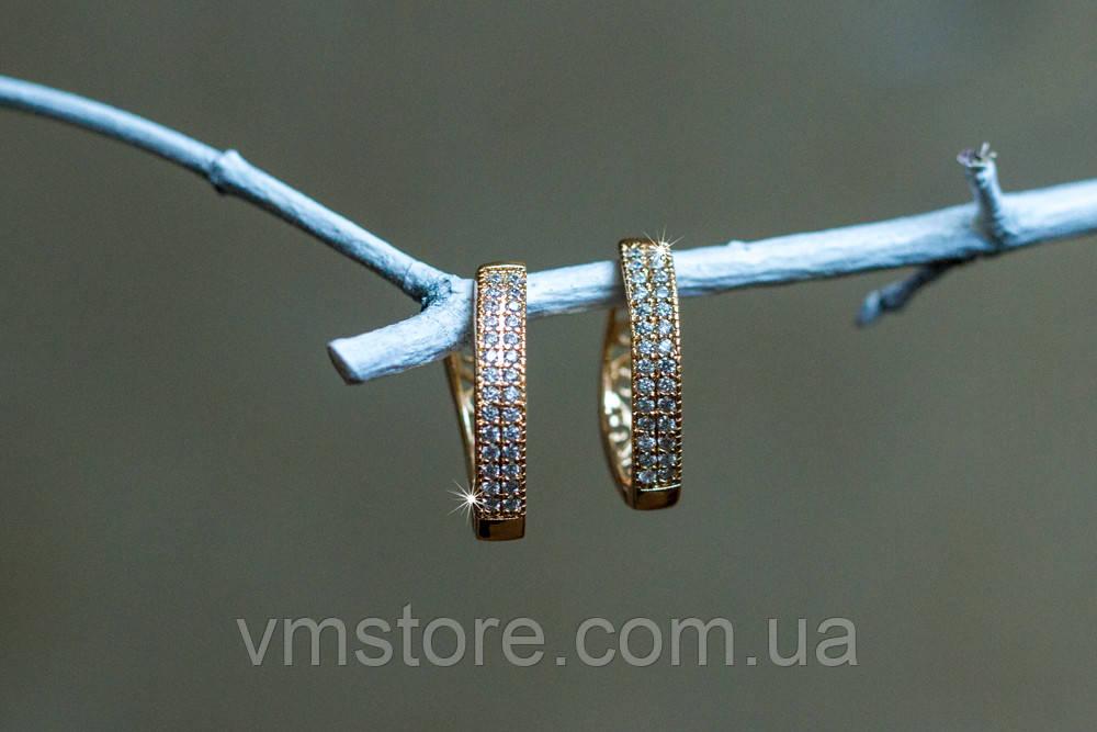 Сережки скоби жіночі, довгі, ювелірна біжутерія Xuping