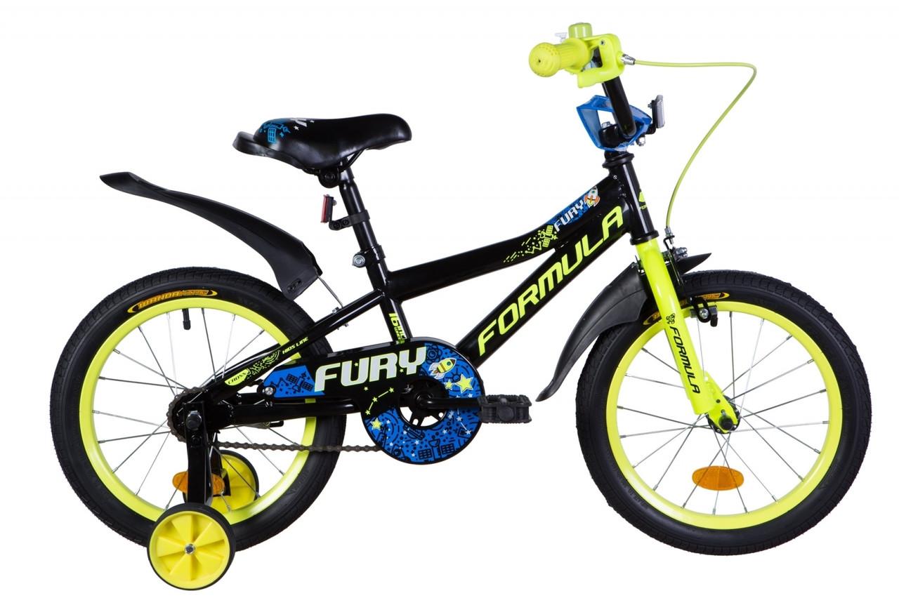 """Велосипед 16"""" Formula FURY 2020 (черно-желтый с синим)"""