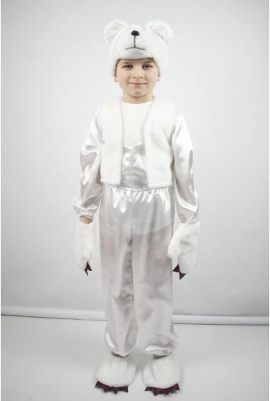 Детский карнавальный костюм Мишка для мальчиков от 3 до 8 лет белый