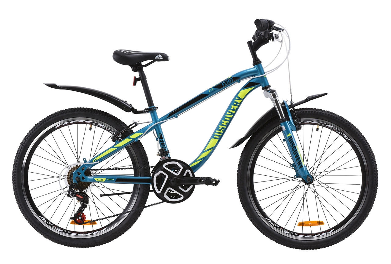 """Велосипед ST 24"""" Discovery FLINT AM Vbr с крылом Pl 2020 (лазурно-желтый с черным)"""
