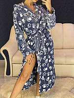 Теплый длинный махровый халат с лапками, фото 1