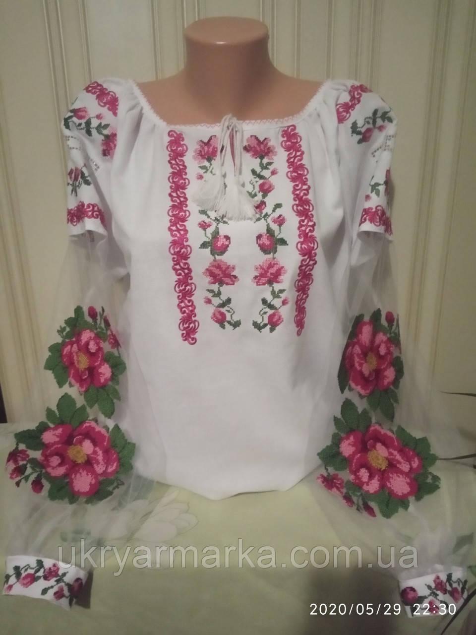 """Вишита жіноча сорочка """"Рожева квітка"""""""