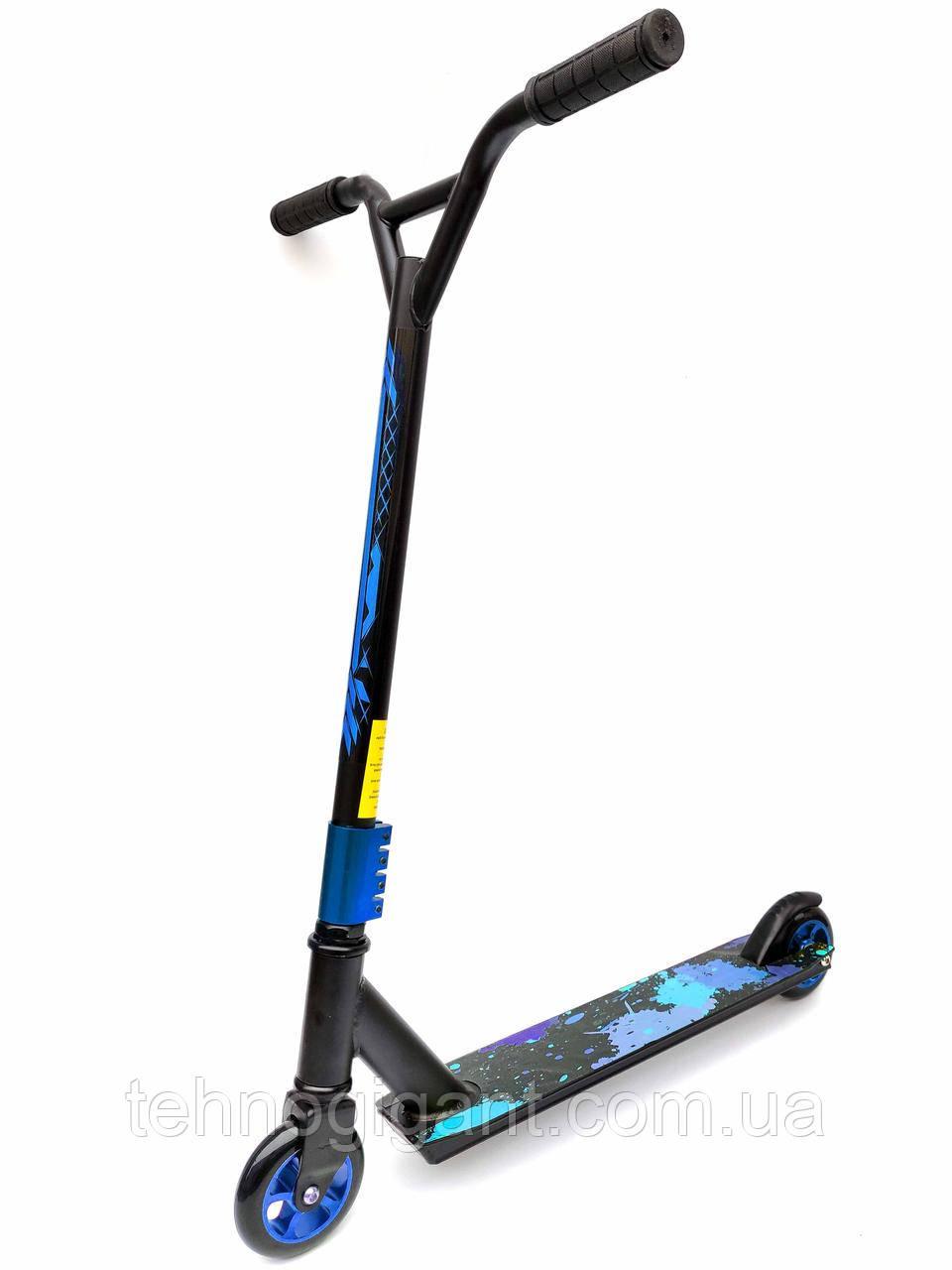 Самокат трюковый Синий , колеса алюминий/полиуретан! расцветки в ассортименте MICMAX D02