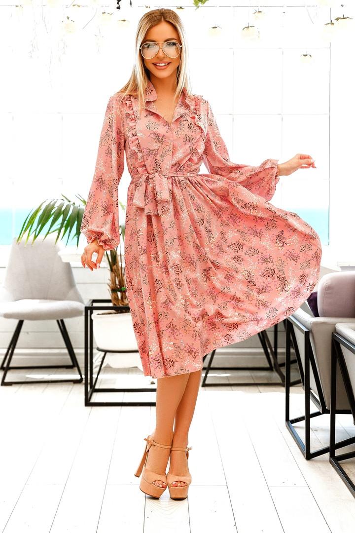 Довге жіноче плаття на гудзиках з рюшами 42-48р.(2расцв)