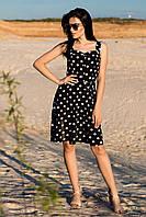 """Літній жіночий сарафан """"Една"""" на широких бретелях в горох, чорний"""