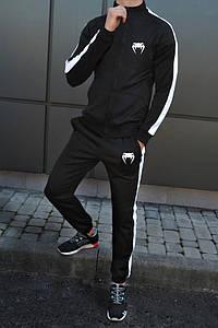Тренувальний костюм Venum чорного кольору з лампасами (Венум)