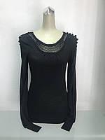 Джемпер женский тонкий с ажуром черный, фото 1