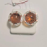 Срібні сережки з золотом і натуратьным бурштином Одрі, фото 1