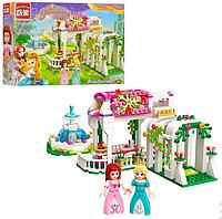 Конструктор Qman 2602 (24шт) розовая серия, сад, фонтан, фигурки, 261дет, в кор-ке,32,5-22-6см