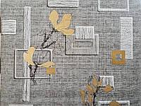 Обои бумажные Эксклюзив 060-11 серый фон, бронзовый цветок